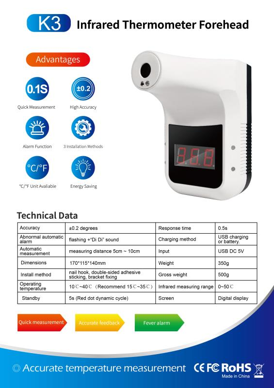 K3 Wall-mounted fordhead infrared thermometer