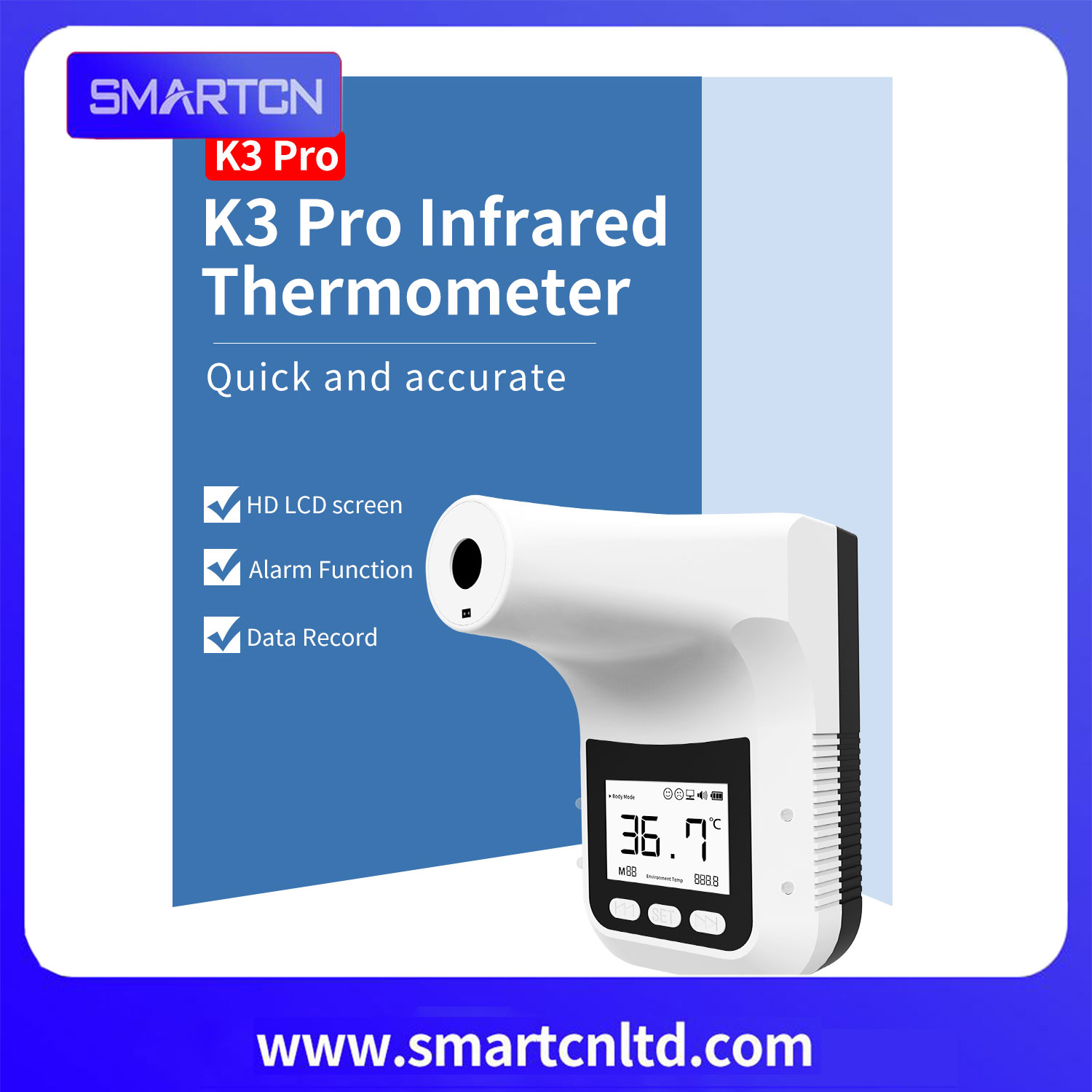 K3 PRO AI Wall mounted forehead infrared thermometer